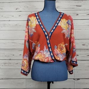 Flying Tomato Faux Wrap Floral Top